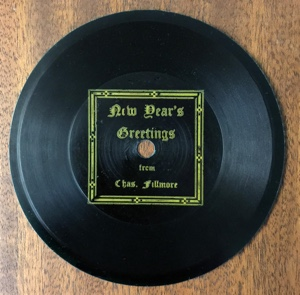 78 RPM record of Charles Fillmore — New Year's Greetings — Published by Unity School of Christianity