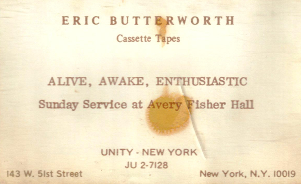 Eric Butterworth Sunday Services — Alive, Awake, Enthusiastic