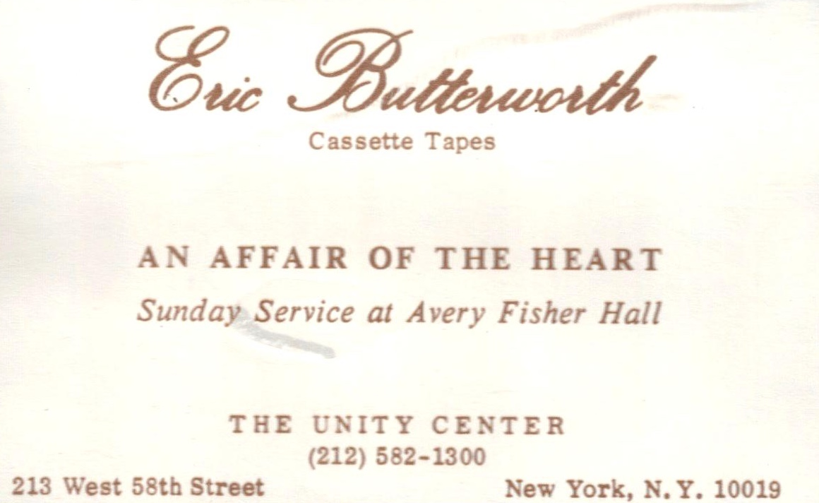 Eric Butterworth Sunday Services — An Affair of the Heart