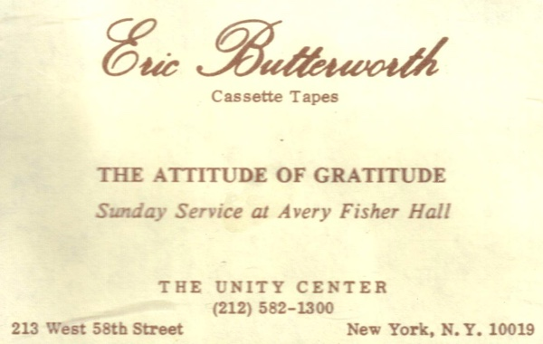 Eric Butterworth Sunday Services — An Attitude of Gratitude