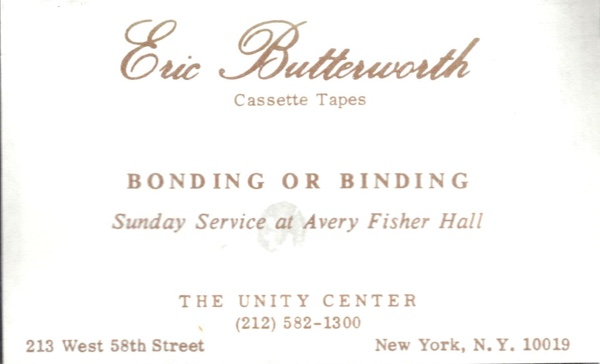 Eric Butterworth Sunday Services — Bonding or Binding