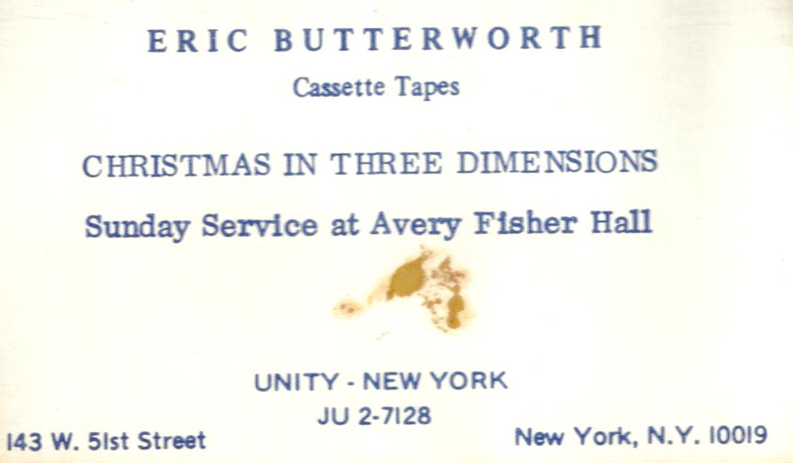 Eric Butterworth Sunday Services — Christmas In Three Dimensions