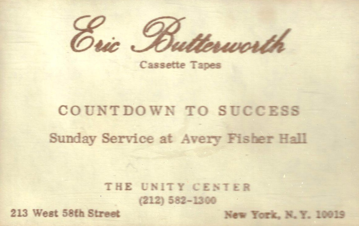 Eric Butterworth Sunday Services — Countdown To Success