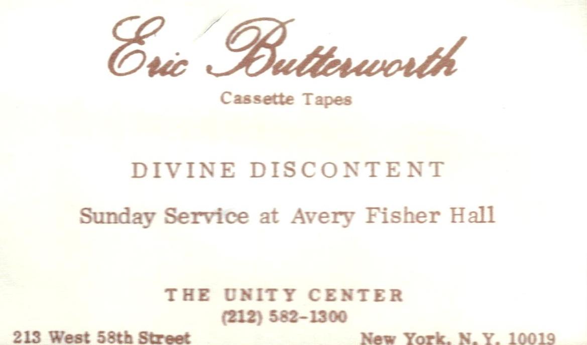 Eric Butterworth Sunday Services — Divine Discontent