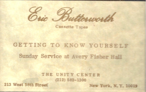 Eric Butterworth Sunday Services — Getting To Know Yourself