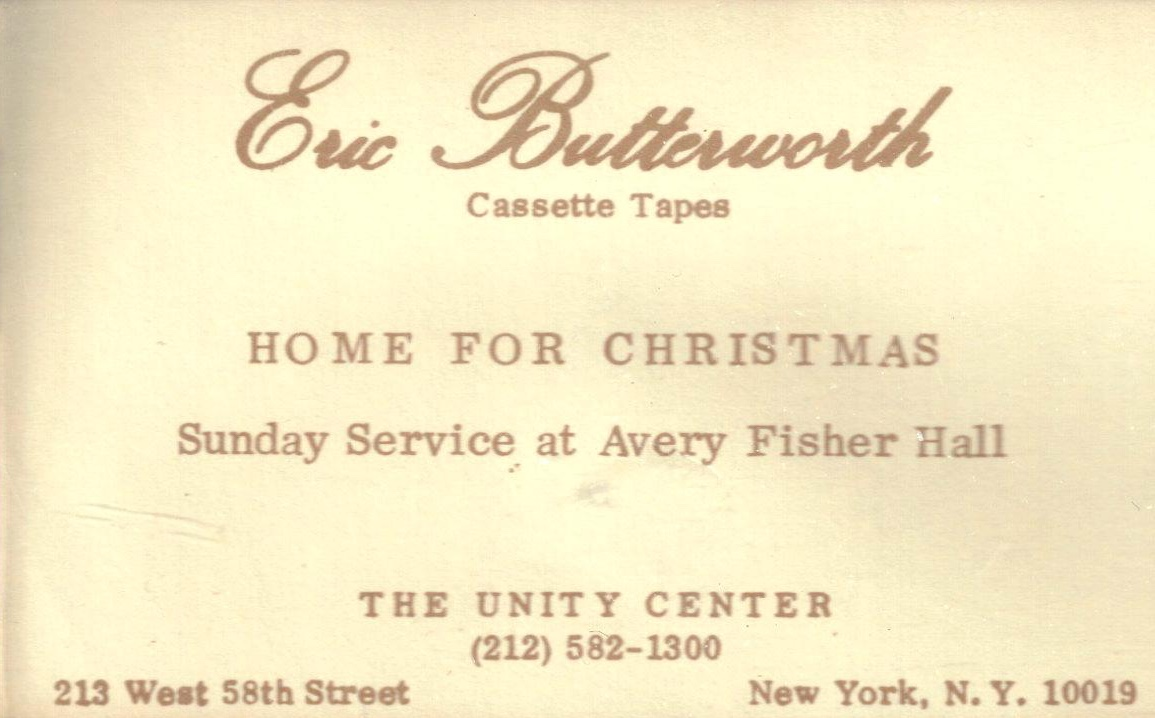 Eric Butterworth Sunday Services — Home For Christmas