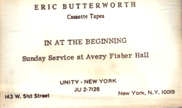 Eric Butterworth Sunday Services — In the Beginning