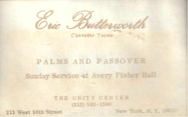 Eric Butterworth Sunday Services — Palms and Passover