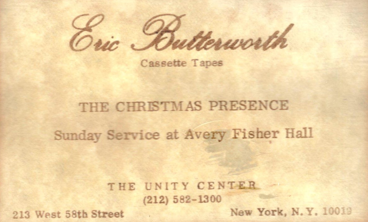Eric Butterworth Sunday Services — The Christmas Presence