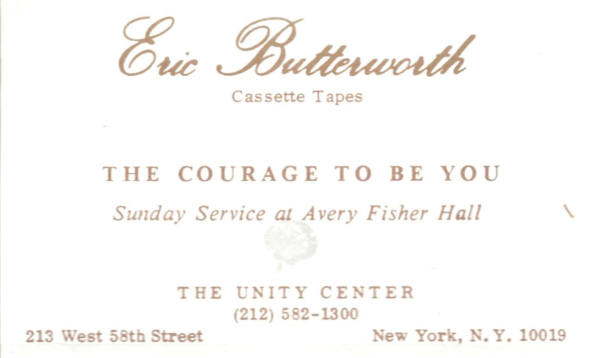 Eric Butterworth Sunday Services — The Courage To Be You