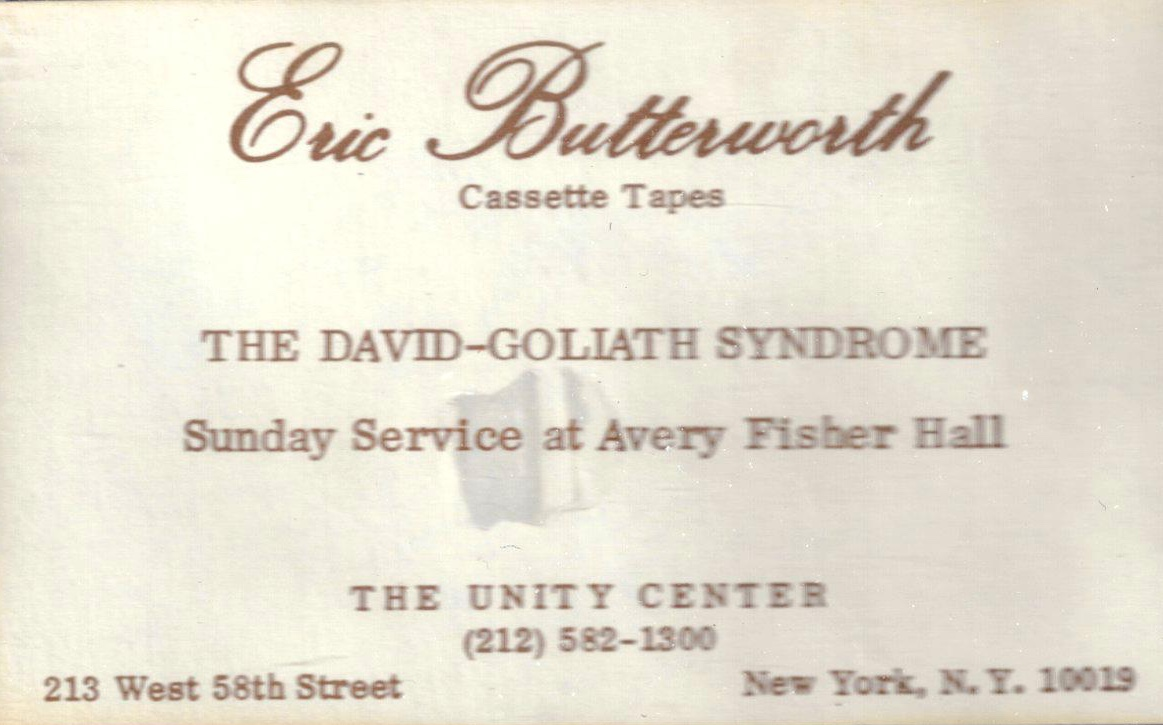 Eric Butterworth Sunday Services — The David-Goliath Syndrome