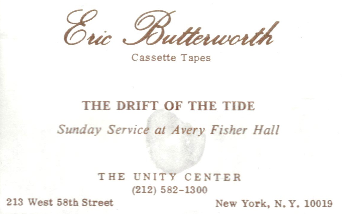 Eric Butterworth Sunday Services — The Drift of the Tide