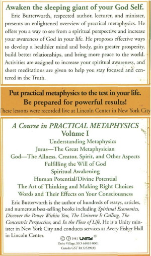 Eric Butterworth Practical Metaphysics Back Cover Volume 1