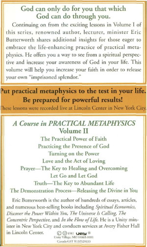 Eric Butterworth Practical Metaphysics Back Cover Volume 2