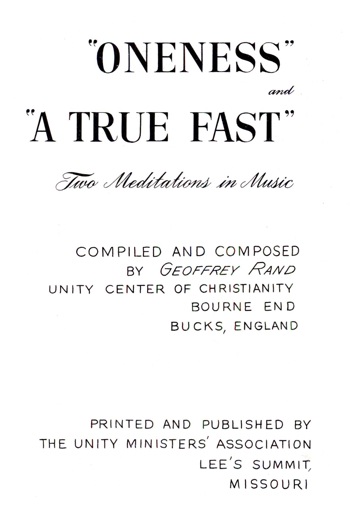 Cover of Two Meditations in Music by Geoffrey Rand