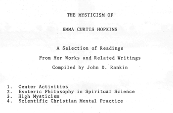 Cover of handout for Mysticism of Emma Curtis Hopkins