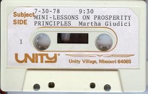 Martha Giudici Audio tape Mini-Lessons on Prosperity