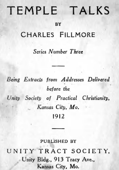 Charles Fillmore — Temple Talks Series Three Title Page