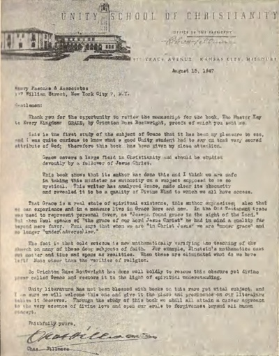 1947 letter from Charles Fillmore to the publishers