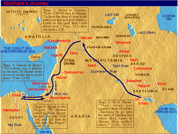 Map of Abraham's Journey from UR