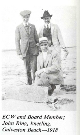 Ernest Wilson with Board Member and John Ring 1918 Galveston Island
