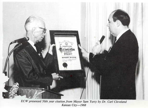 Ernest Wilson Carl Cleveland presenting Sam Yorty citation 1968 Kansas city