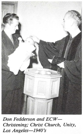 Ernest Wilson and Don Fedderson Christening 1940s Christ Church Unity Los Angeles
