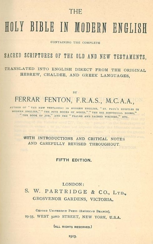Ferrar Fenton Title Page