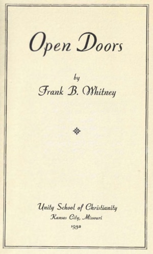 Frank B. Whitney Open Doors Cover