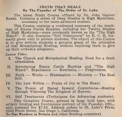 Manual of Christian Healing - OSL Handbook 1956 cover by John Gaynor Banks