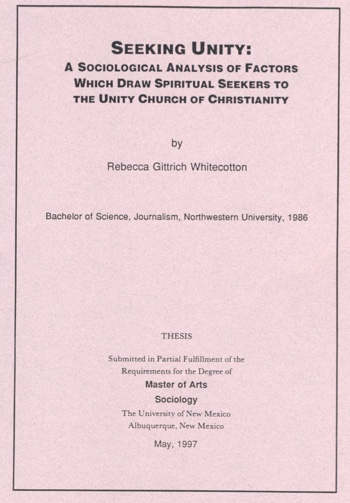 seeking unity a sociological analysis of factors which draw spiritual seekers to the unity church