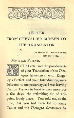 Letter From Chevalier Bunsen To The Translator