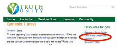 Screenshot of TruthUnity Bible page showing a link to the Unity Bible Lessons