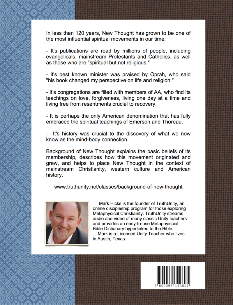 TruthUnity Background of New Thought Course Guide Back Cover