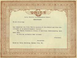 Unity Correspondence School Certificate
