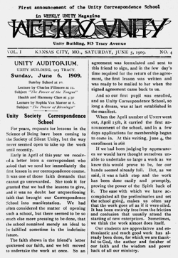 Unity Correspondence School announcement in Weekly Unity 1909