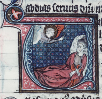 God appearing to Obadiah in his dream (France, 13th century).