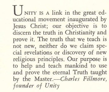 Unity is a link in the great educational movement inaugurated by Jesus Christ