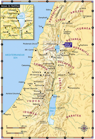 Map of Palestine in the time of Jesus