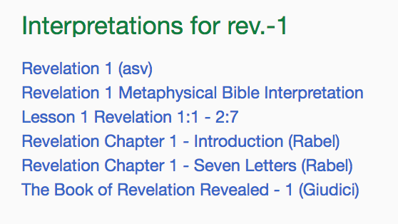 screenshot of interpretions for Revelation on TruthUnity