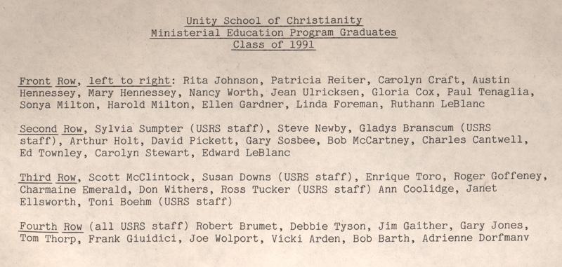Unity Ordination Photo Back 1991