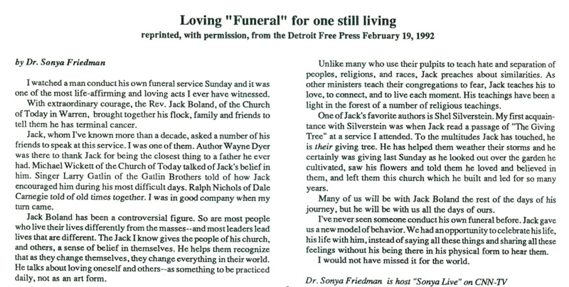 Loving Funeral for one still living