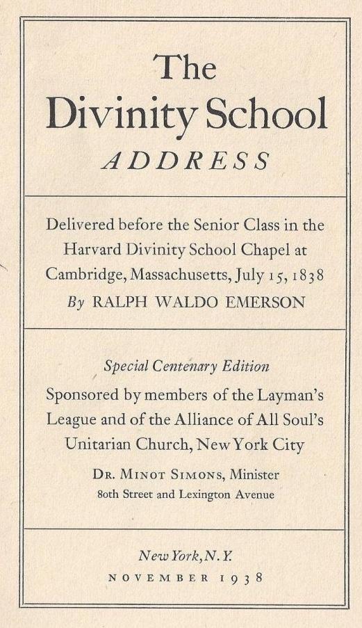 Divinity School Address