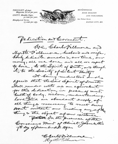 The 1892 covenant of Charles and Myrtle Fillmore