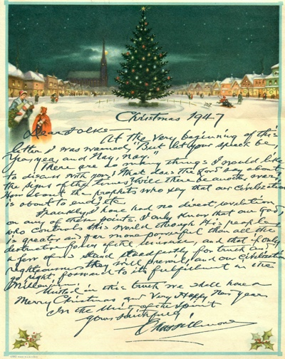 Charles Fillmore Christmas Greetings 1947