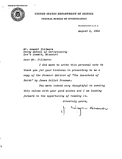 Letter to Lowell Fillmore from J Edgar Hoover August 1, 1951
