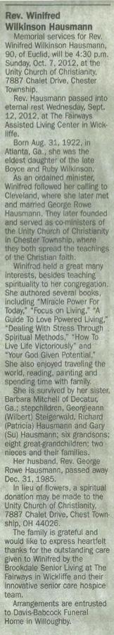 Winifred Wilkinson Hausmann Obituary