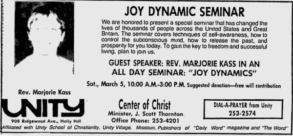 Marge Kass Joy Dynamics Seminar Publicity