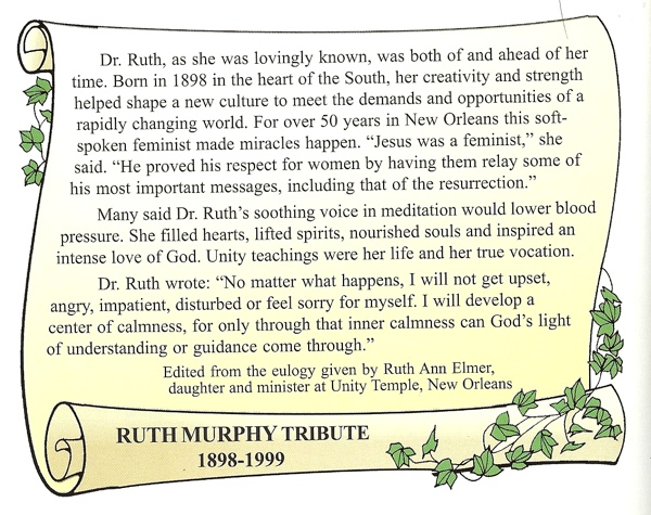 Tribute to Ruth Murphy by Ruth Ann Elmer