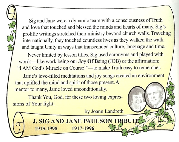Tribute to J. Sig and Jane Paulson by Joann Landreth
